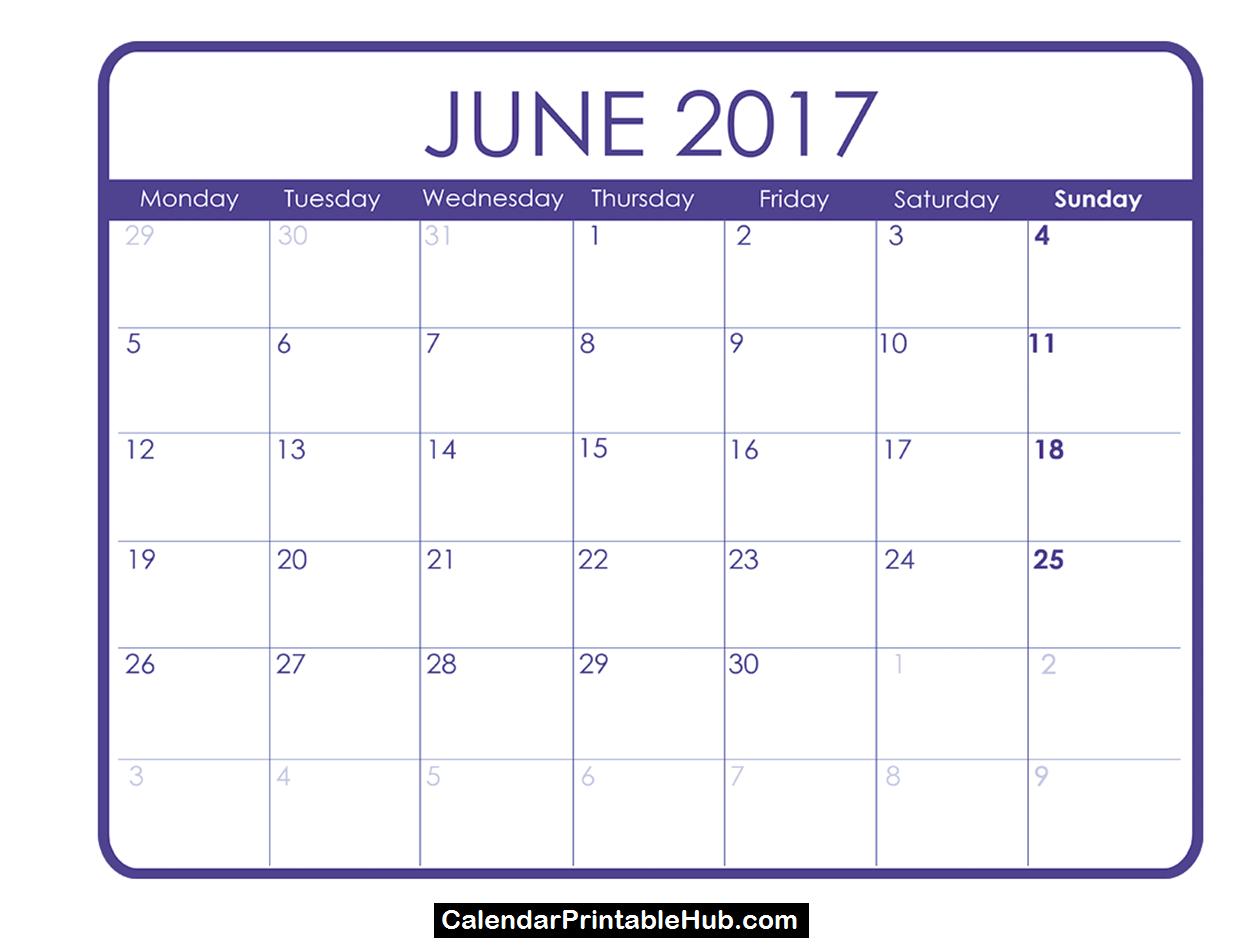 june calendar 2017 printable