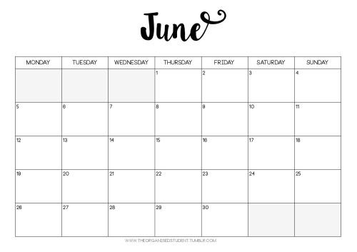 June Calendar 2017 Tumblr