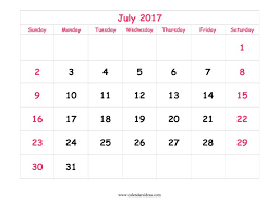 Cute July 2017 Calendar Printable