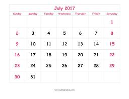 Cute July 2017 Calendar Printable