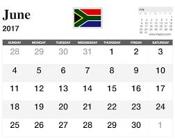 June 2017 Calendar South Africa