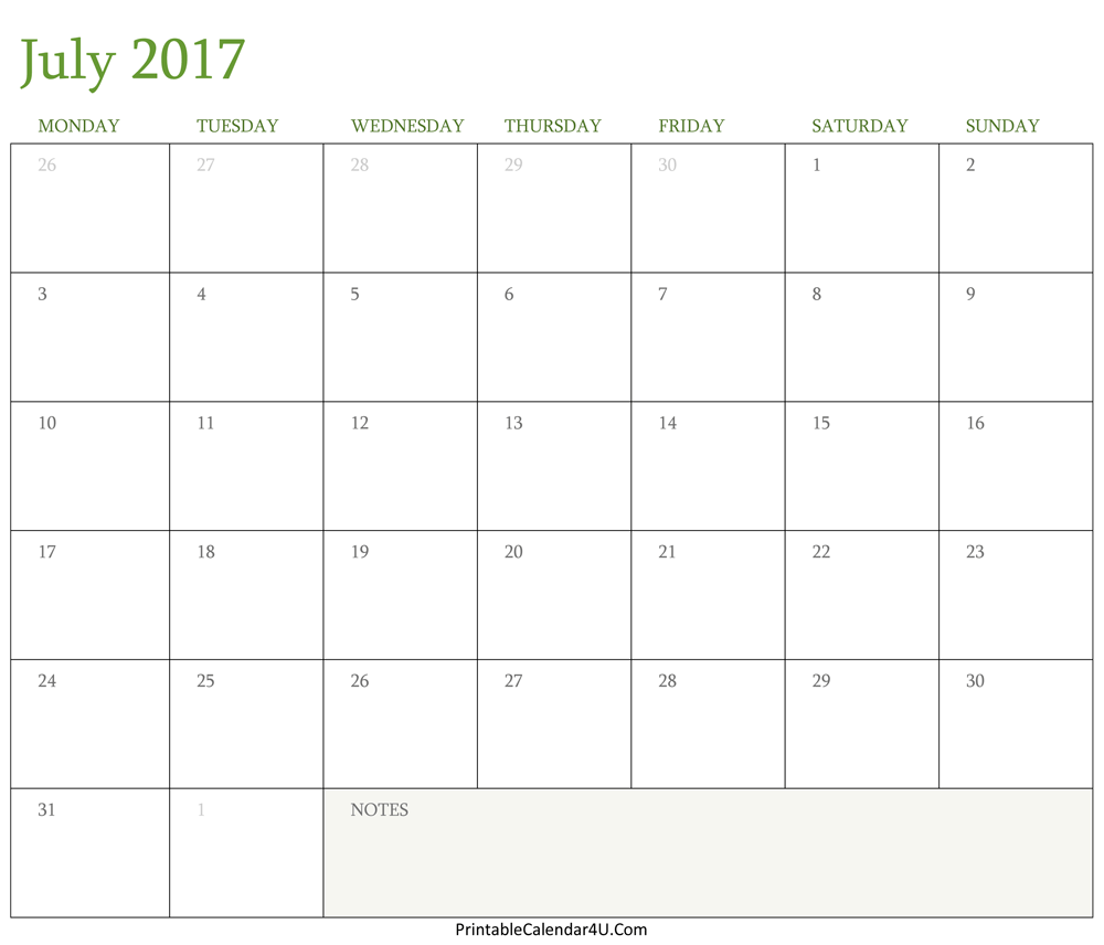 July Calendar Printable Preview