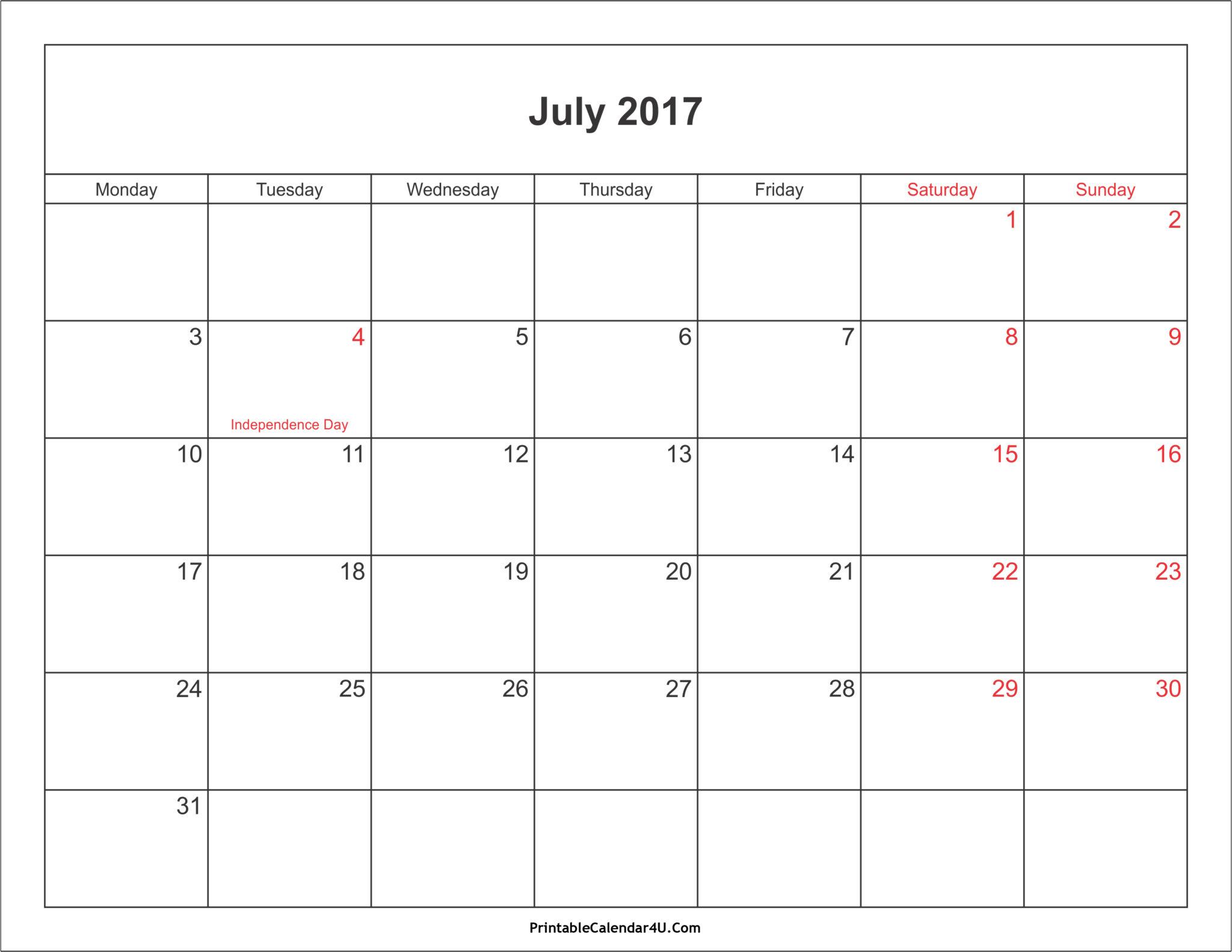 July 2017 Calendar printable with holidays