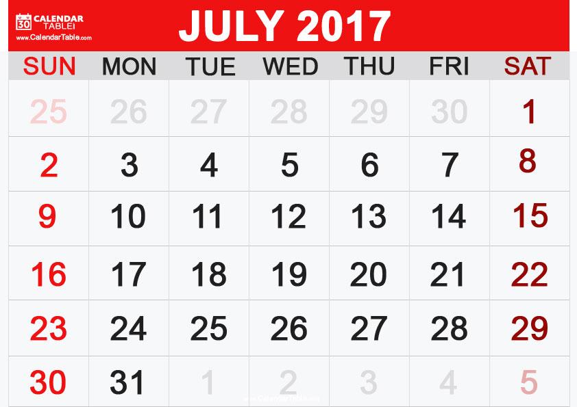 July 2017 Calendar
