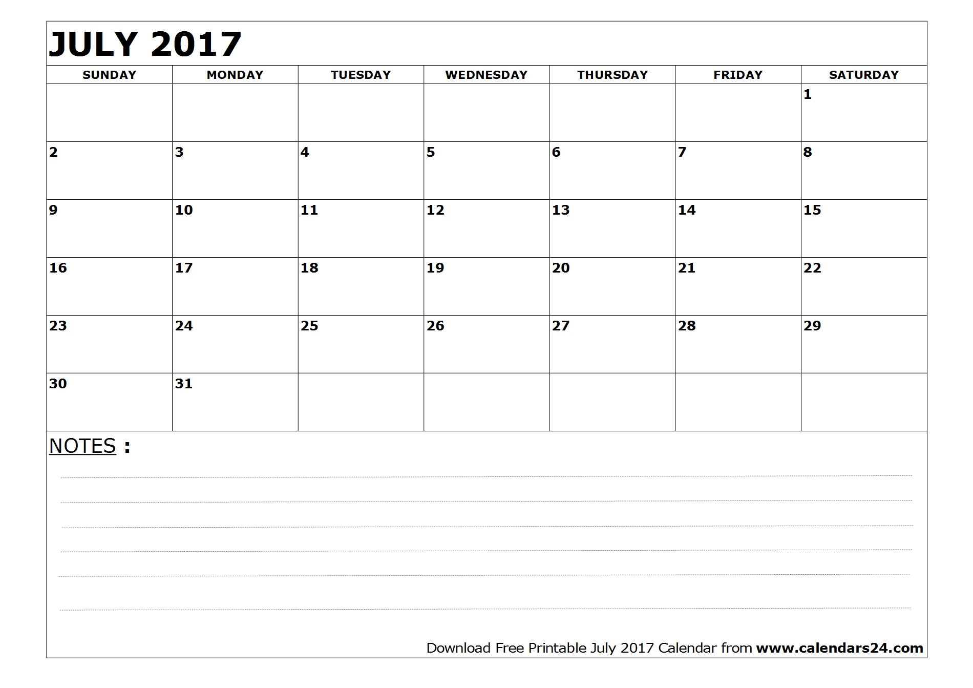 Print July 2017 calendar