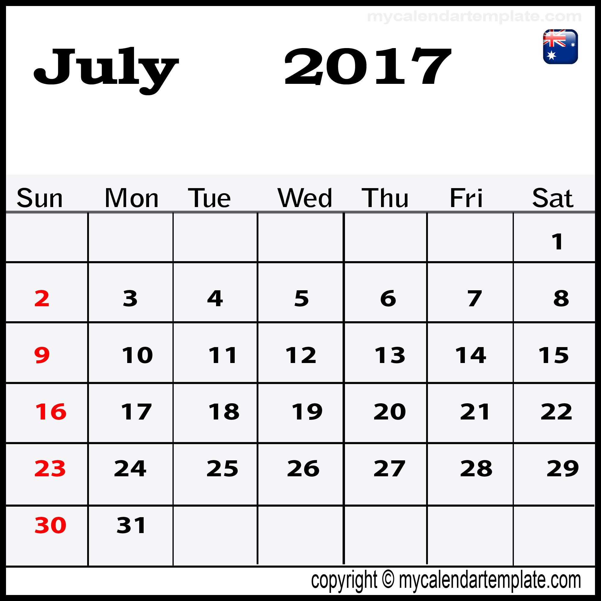 july 2017 calendar australia