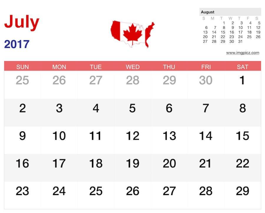 july 2017 calendar canada