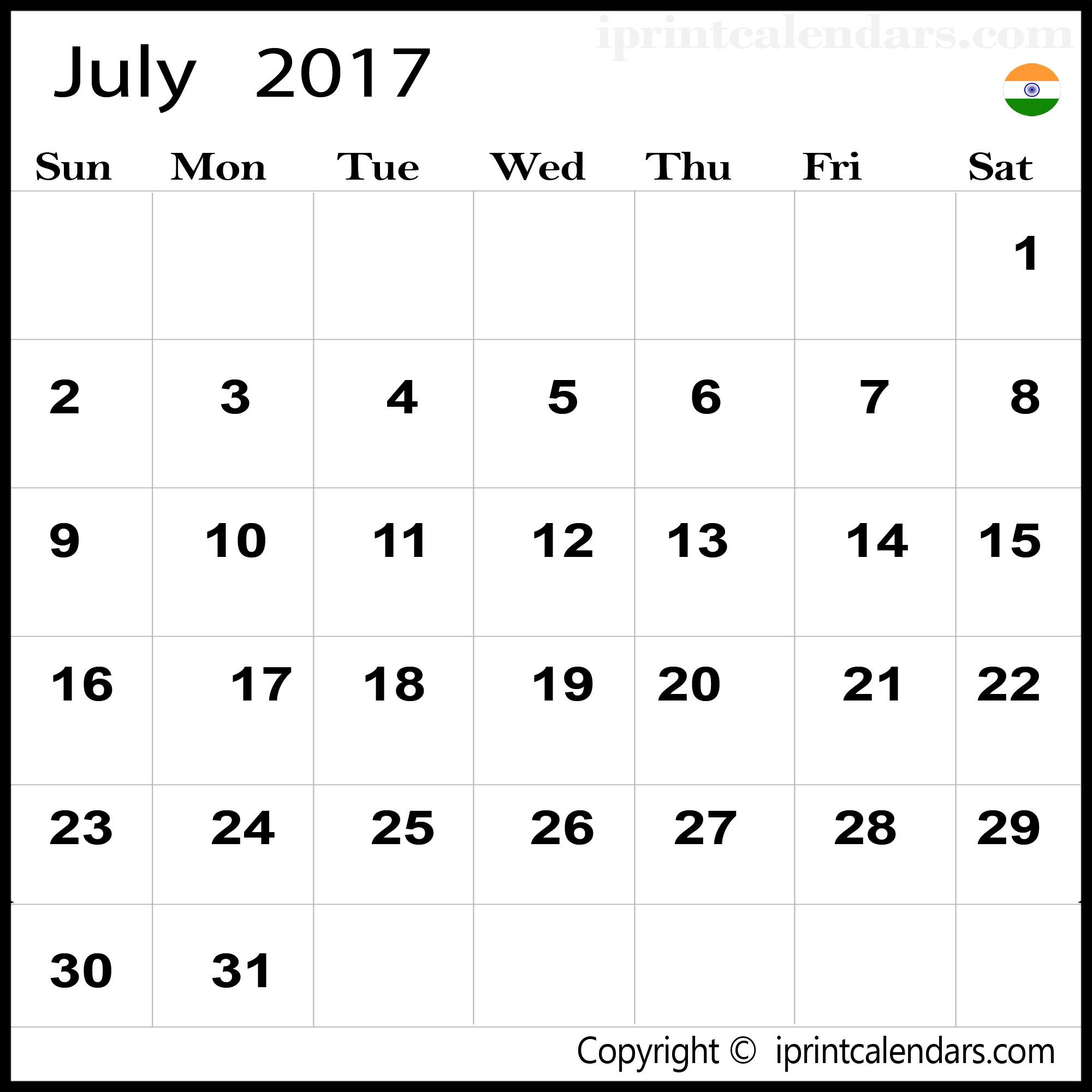 july 2017 calendar india