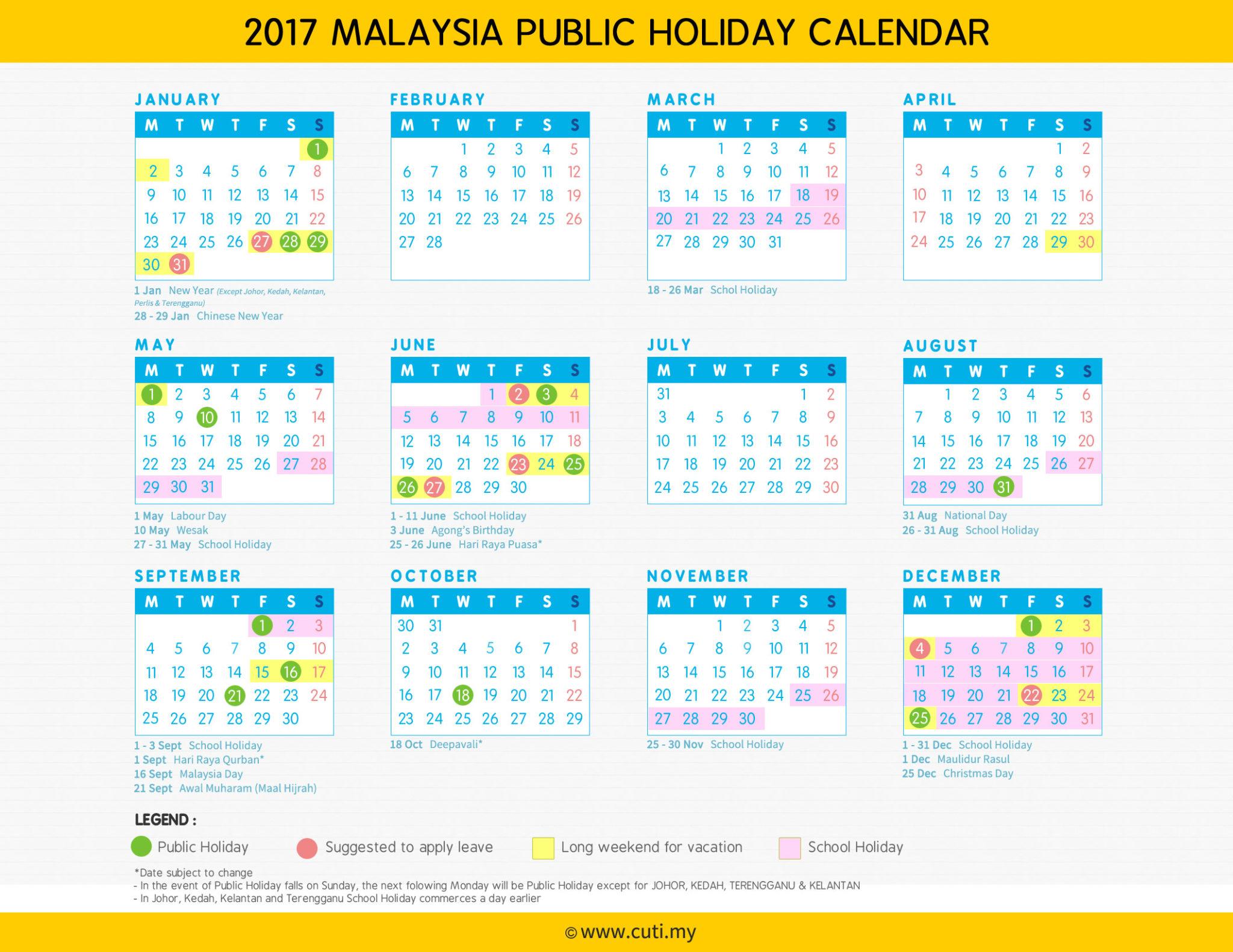 july 2017 calendar malaysia
