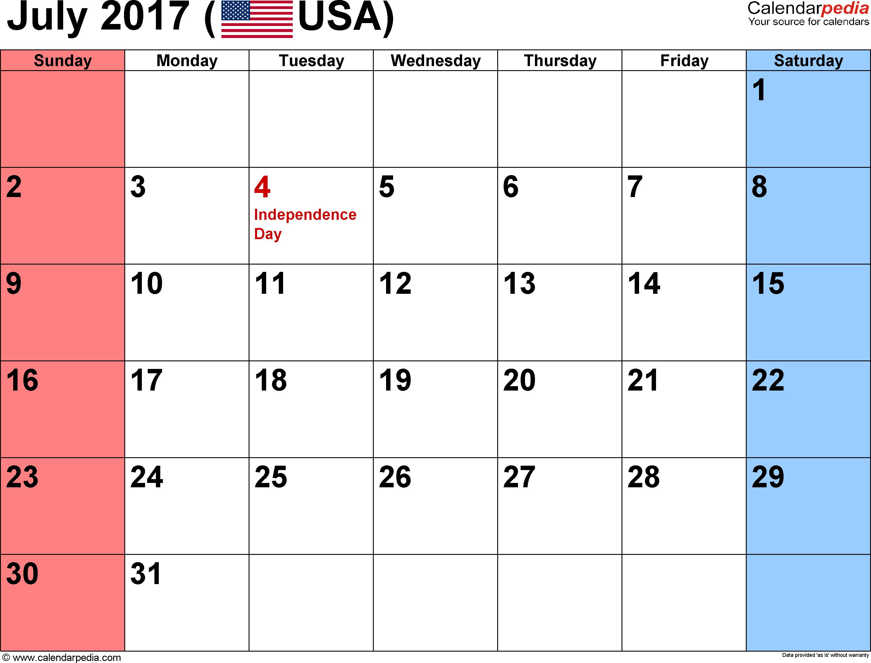 july 2017 calendar usa