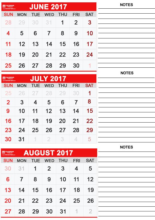 june July August 2017 Calendar
