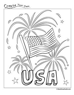 4th of July Flag Coloring Pages